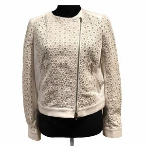 Club Monaco cream denim/crochet jacket size 6
